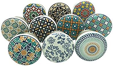 APEX Outlet Ceramic Cupboard Cabinet Door Knobs Drawer Pulls and Chrome Hardware Drawer knobs Multi Color Set of 10