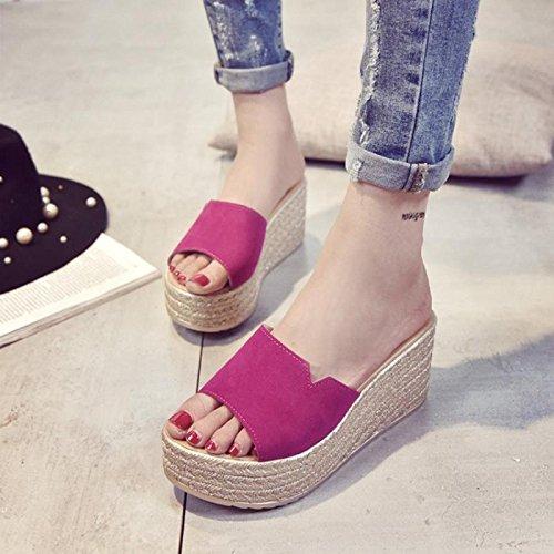 LvYuan Frauen Sommer Hausschuhe / Komfort Casual Fashion / Wedge Ferse / dicken Boden / wasserdichte Plattform / High Heel / Scrub Sandalen / Strand Schuhe rose red