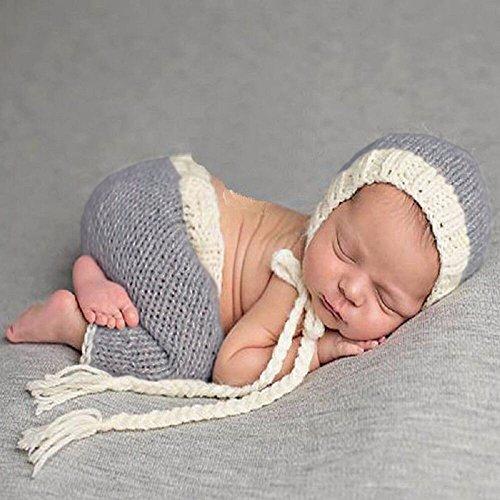 Grau & Weiß Outfit, Neugeborenes Baby / Junge Häkelarbeit Strick Kostüm Foto Fotografie Stütze Hüte Outfits