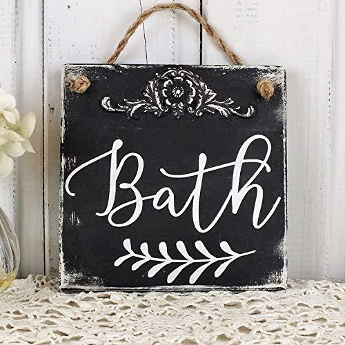 qidushop Türschild für das Badezimmer im Landhaus-Stil, Holzschild, französisches Landhaus-Design, Wandschild, Wandschild, Retro-Stil, Shabby Art -