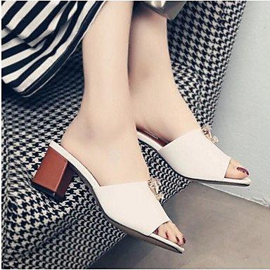 RUGAI-UE Sommer Mode Frauen Sandalen Schuhe Casual PU Komfort Fersen, Weiß, US 8 / EU 39/UK6/CN 39 White