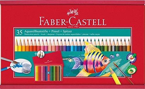 Faber-Castell 114415 – Estuche para dibujo, de madera, 38 piezas
