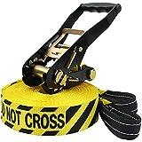 Slackline 15 m Freedom da BB Sport (2 t), Colore:Do not cross. giallo