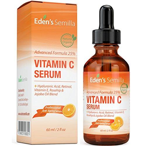 25% VITAMIN C SERUM 60ml - EINE LEISTUNGSSTARKE, HOCHENTWICKELTE FORMEL- Hyaluronsäure, Retinol, Vitamin E und eine Hagebutten - &...
