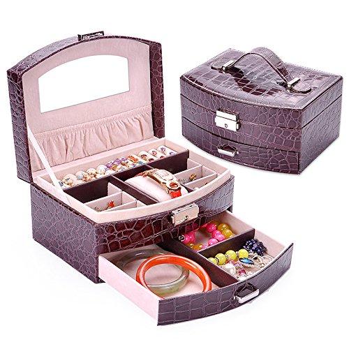 Kaffee Dekorative Aufbewahrungsbox (lzzfw Schmuckkästchen Weihnachten Geschenkbox Holz Europäischen Prinzessin Mit Großraum Ohrstecker Schmuck Ohrringe Dekorative Box Aufbewahrungsbox 20 * 16 * 10 Cm, Kaffee)
