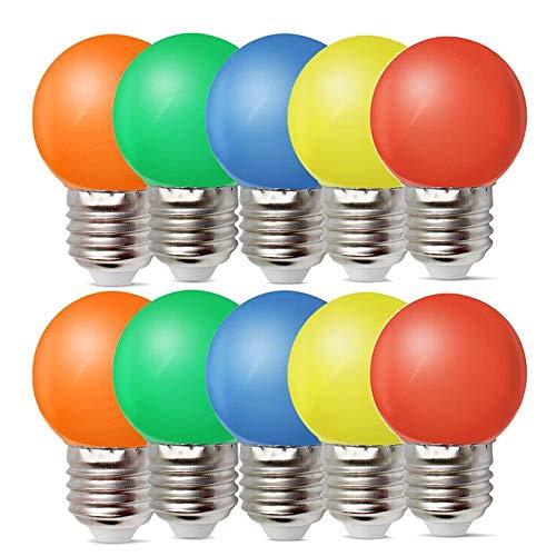 10er E27 LED Bunte 1W Farbige Glühbirnen Farbig Gemischt 100LM Energiesparende PC LED Bunte Birnen Deko Glühbirne AC220V-240V, Rot, Gelb, Blau, Grün und Orange -