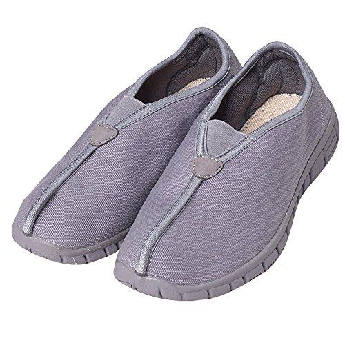 Zooboo Buddhistisches doppelt Mönch Schuhe–Shaolin Martial Arts Schuhe Kung Fu Sneaker bequem atmungsaktiv Anti-Rutsch Gummi Sohle Schuhe für Unisex, grau (Martial-arts-training-schuh)