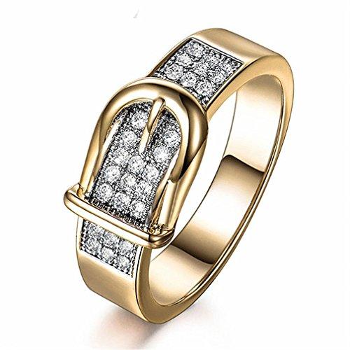 (Frauen Mädchen Statement Schmuck Ringe Mingfa 2018Fashion Gürtel Form Kristall Zirkonia Hochzeit Engagement Braut Finger Band Ring, Legierung, Gold, 8)