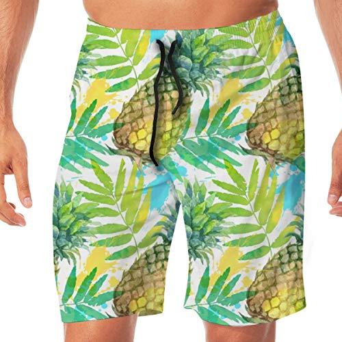 OOworld Men's Swim Trunks Watercolor Pineapples_3109 Quick Dry Beach Wear Shorts Swimwear with Pockets,XXL