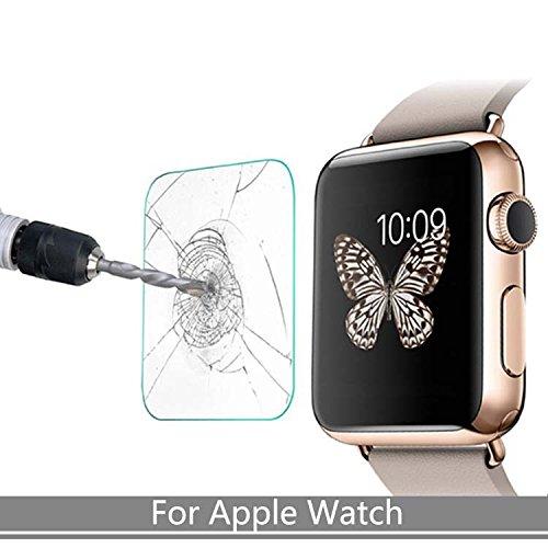 Preisvergleich Produktbild 1x Hartglas Panzerglas Tempered Glass Echtglas für Apple iWatch 42mm 9H Schutzfolie
