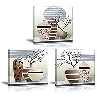 Spécifications techniques: - Marque: PIY painting  - Theme : Impression elegant arbre dans la Vase à Fleurs  - dimension : 30x30cm / 12x12 inchs -Quantité : 3 pieces - couleur : coloré  - Impermeable : oui  - Toile économique : oui -UV résistant :...