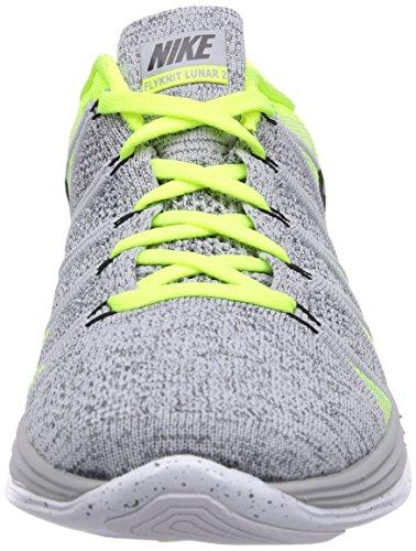 Nike 620465 011 Flyknit Lunar2 Herren Sportschuhe - Running Mehrfarbig (WOLF GREY/BLACK VOLT)