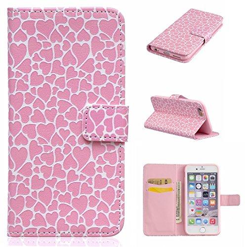 BoxTii® - Custodia in pelle PU a portafoglio con cover in silicone per Apple iPhone 6/iPhone 6s, con supporto, con 6 porta tessere, funzione chiusura magnetica staccabile, Ecopelle, #7 Love, Samsung G #8 Love