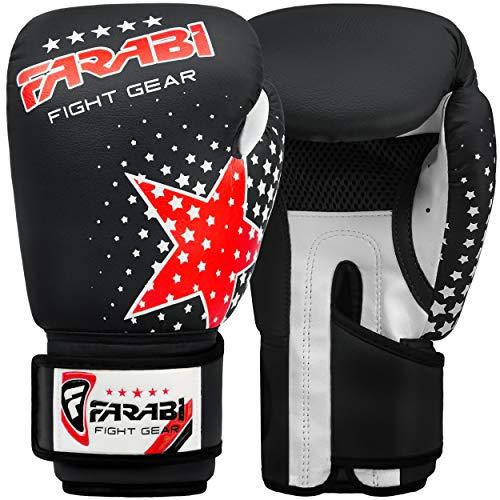 FARABI Kinder Boxhandschuhe, MMA, Muay Thai Junior, Boxhandschuhe, Schwarz, 170 g