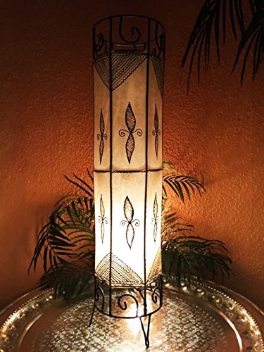 Dekorationen Schlafzimmer Marokkanische (Orientalische Stehlampe Neslihan Natur 80cm Lederlampe Hennalampe Lampe | Marokkanische Große Stehlampen aus Metall, Lampenschirm aus Leder | Orientalische Dekoration aus Marokko, Farbe Natur)