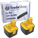 2x Trade-Shop Premium Akku Ni-MH Akku 12V / 2500mAh für Panasonic EZ7205X-B EZ7270 EZ7270NKN EZ7270X EZ7271 EZ7271NKN EZ7271X EZ7300 EZ7301 EZ7301N22PK EZ7301P SDF-AK 220