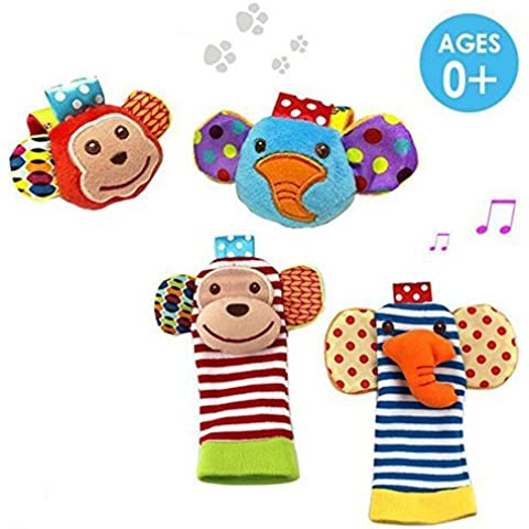 Daisy 4 Packs Adorable Animal Infant Baby Toy Set Bell Wrist Rattle & Foot Finder (Daisy Rattle)
