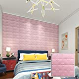 Aufkleber,Resplend Neue PE Schaum 3D Wallpaper Dekorativ Tapete Anti Collision Soft Sofa Hintergrund Wandaufkleber DIY Wandtattoo Wanddekor Wandsticker Schaumfliese Wanddeko (Rose)