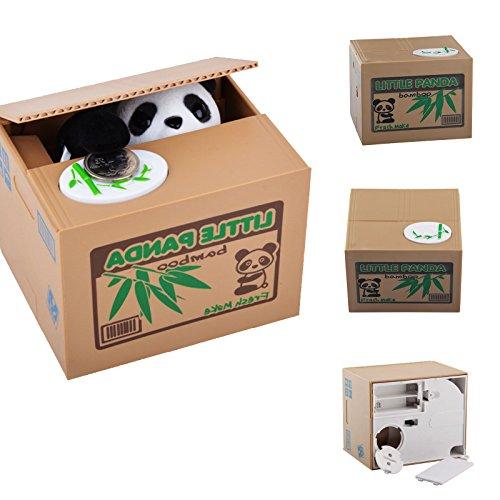 JUEYAN Elektronische Spardose Automatische Sparbüchse Panda Gelddose 40 Münzen Spartopf Tiergeräusch Geschenk für Kinder