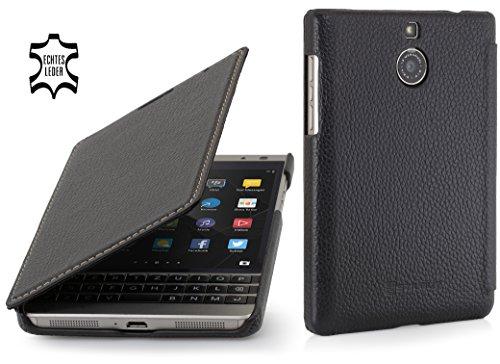 StilGut Book Type Case, Hülle aus Leder für BlackBerry Passport Silver Edition, Schwarz
