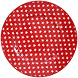 Krasilnikoff Platos de postre de color rojo con estrellas blancas