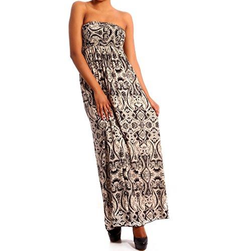 Donna Hippie Bandeau Long Dress maxi dell'abito Beige 2/Mehrfarbig