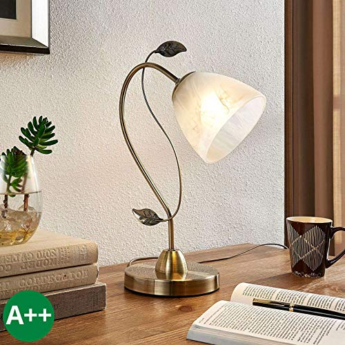 Lampe à poser 'Michalina' (Moderne) en Blanc en Verre e. a. pour Salon & Salle à manger (1 lampe,à E27, A++) de Lampenwelt | Lampe à poser