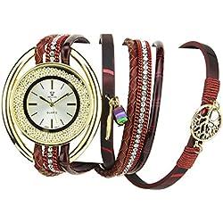 Bellos Damen-Armbanduhr soldes Valentinstag Silber Gold Quartz Gehäuse Stahl Armband Kunstleder Doppel Tour rot