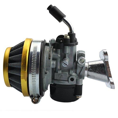 GOOFIT Carburatore 19 Dell Orto Minimoto Filtro Aria 58mm per 2 Tempi 47cc 49cc Mini Pit Bike Quad ATV Scooter Oro