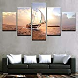 HXZFF Bilder 200x100 cm - Leinwandbilder - Kein Rahmen - Vlies Leinwand - 5 Teilig - Wandbilder - Kunstdrucke - Wandbild - Segeln nautisch