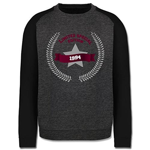 Geburtstag - 1994 Limited Special Edition - Herren Baseball Pullover Dunkelgrau Meliert/Schwarz