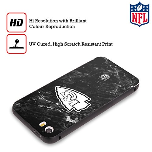 Ufficiale NFL Marmo 2017/18 Kansas City Chiefs Nero Cover Contorno con Bumper in Alluminio per Apple iPhone 5 / 5s / SE Marmo