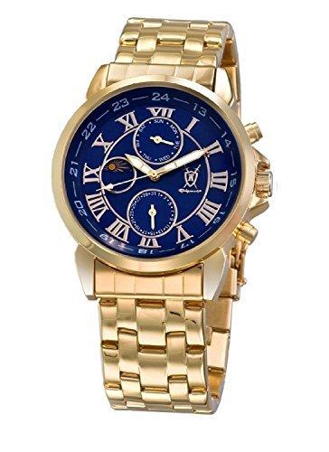 Konigswerk Herren klassische Gold Armbanduhr Ziffernblatt blau römische Ziffern Tag Datum Sonne Mond Konigswerk AQ101091G-1