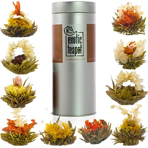The Exotic Teapot - Flowering Tea Sampler Tin, 10 Varieties of Blooming Tea, All Different Flavours, Jasmine Tea, Vacuum Sealed Flower Tea Balls