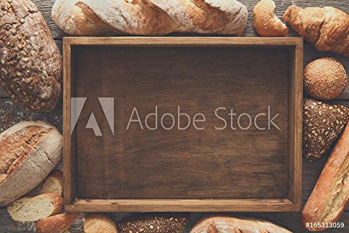 druck-shop24 Wunschmotiv: Bread Bakery Background. Brown and White Wheat Grain Loaves comp #165313059 - Bild auf Forex-Platte - 3:2-60 x 40 cm / 40 x 60 cm Comp Platte