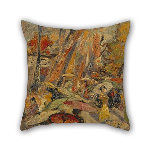 Slimmingpiggy Oil Painting Edward Atkinson Hornel - Street Scene, Tokyo Pillowcase ,best For Him,couch,lounge,outdoor,birthday,gril Friend 20 X 20 Inches / 50 By 50 Cm(two Sides)