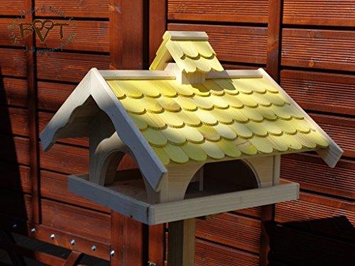 Vogelhaus,groß,mit Nistkasten,BEL-X-VONI5-gelb002 Großes wetterfestes PREMIUM Vogelhaus VOGELFUTTERHAUS + Nistkasten 100% KOMBI MIT NISTHILFE für Vögel WETTERFEST, QUALITÄTS-SCHREINERARBEIT-aus 100% Vollholz, Holz Futterhaus für Vögel, MIT FUTTERSCHACHT Futtervorrat, Vogelfutter-Station Farbe gelb kräftig sonnengelb goldgelb, MIT TIEFEM WETTERSCHUTZ-DACH für trockenes Futter - 2