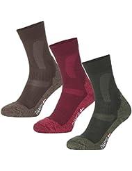 Calcetines de Senderismo y Trekking de Lana Merino de DANISH ENDURANCE® // para hombres y mujeres // 1 par (Rojo - WINE RED, EU 39-42 // UK 6-8)