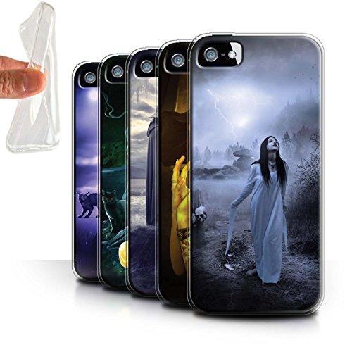 Officiel Elena Dudina Coque / Etui Gel TPU pour Apple iPhone SE / Vent/Orage/Forêt Design / Magie Noire Collection Pack 6pcs