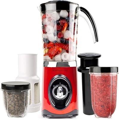Andrew James Red 4 in 1 Multifunctional 1 Litre Smoothie Maker, 1.5 litre Blender, Grinder And Juicer