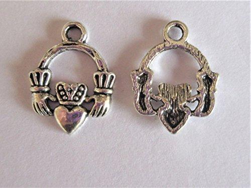 5x Irish Claddagh Ring Tibetisches Silber Charms Anhänger Beads