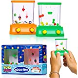 Handheld Water Game By YoYa Toys: A 2 Pack Set Of A Fish Ring Toss And A Basketball Aqua Arcade Toy In 2 Different Colors - Compact Mini Retro Pastime For Kids And Adults In A Gift Box