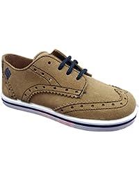 RODIA OX-18-02a/S - Zapatos de Vestir infantil Niño Ante con Cordones Camel Primavera-Verano