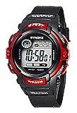 Reloj de Pulsera para Niños Redondo Reloj Digital con Funciones de Cronómetro Cronógrafo Alarma y Pantalla Luminosa - Rojo