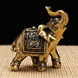 Changlesu Kunstharz Elefant Statue DEKO Figuren Elefant mit Diamant Souvenir Garten Figuren Miniatur Home Lucky Reichtum 9× 9cm