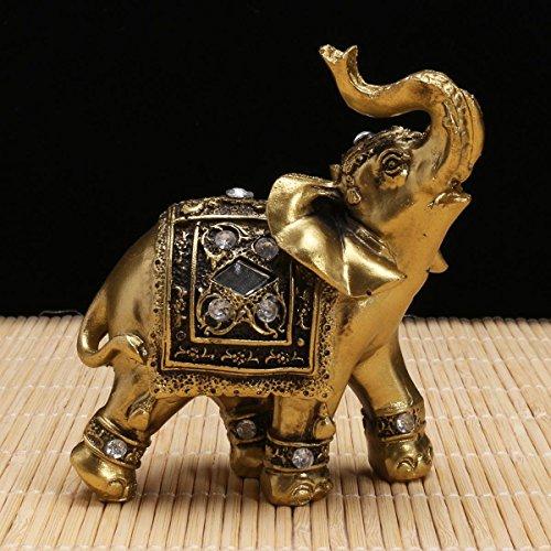 Elefant Statue DEKO Figuren Elefant mit Diamant Souvenir Garten Figuren Miniatur Home Lucky Reichtum 9× 9cm ()