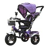 4-in-1 Kinder Dreirad Pfote Patrol, hohe Qualität Trolley Fahrrad Kinder Push Trikes für Baby 3 Rad Fahrrad mit Anti-UV Markise ( größe : Lila )