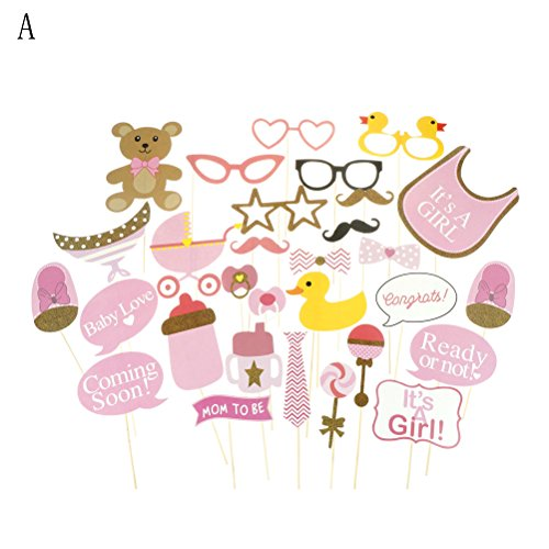 HITSAN INCORPORATION 30pcs Photo Booth Props Photobooth Supplies Baby Shower It's A Boy Girl Baby Shower 1st Birthday Party Favor Gifts Color A