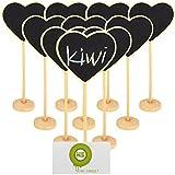 KIWI SWEET Corazón mini Pizarra pizarrón Madera WordPad de tableros de mensajes para fiesta boda Número de mesa/tarjeta de lugar el establecimiento de decoración, juego de 10