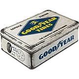 Nostalgic-Art 30745 Goodyear - Logo White  | Vorratsdose Flach | Keks-Dose | Aufbewahrungs-Box | Metall| mit Scharnierdeckel